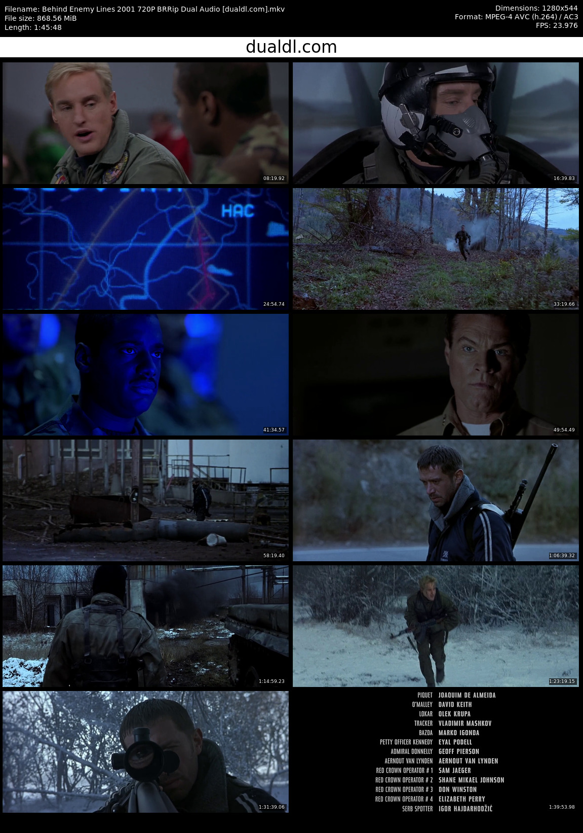 Behind Enemy Lines 2001 720P BRRip Dual Audio